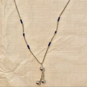 Silver and navy necklace